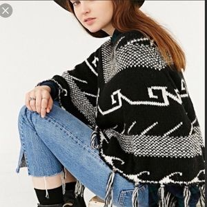Urban Outfitters Ecote Brand Black and and Poncho